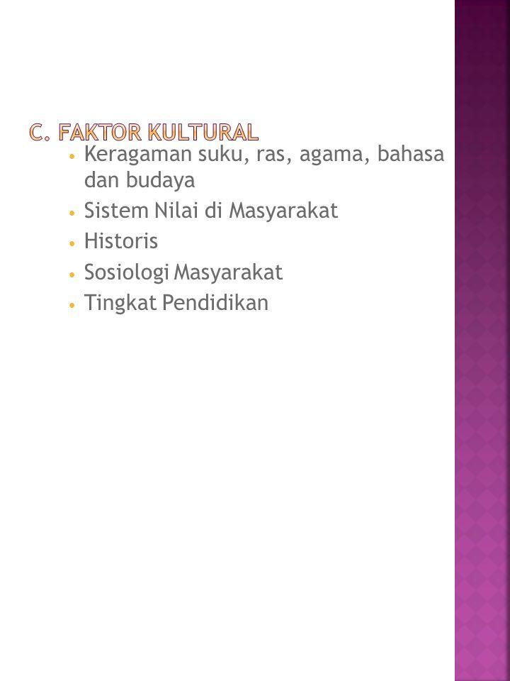 c. Faktor Kultural Keragaman suku, ras, agama, bahasa dan budaya