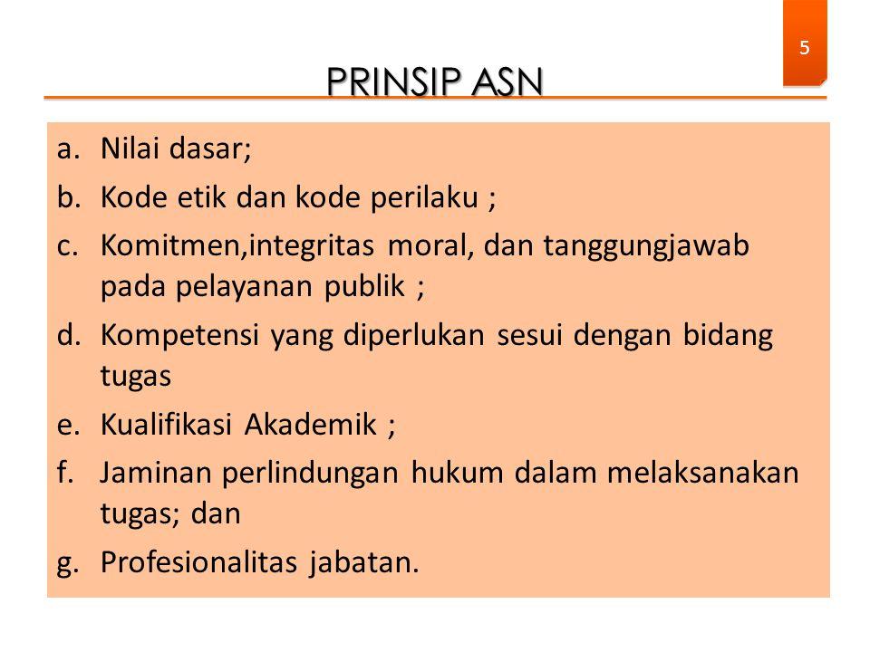 PRINSIP ASN Nilai dasar; Kode etik dan kode perilaku ;
