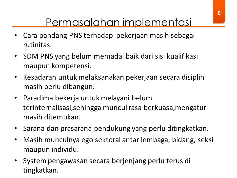 Permasalahan implementasi
