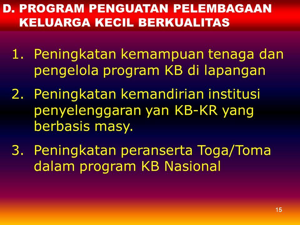 Peningkatan kemampuan tenaga dan pengelola program KB di lapangan