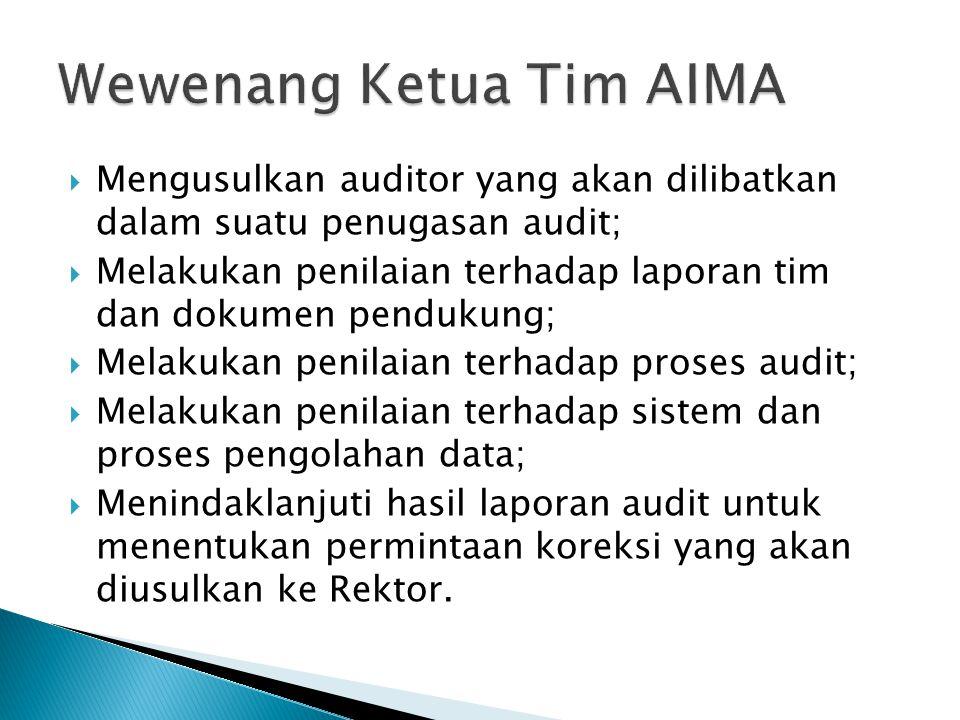 Wewenang Ketua Tim AIMA