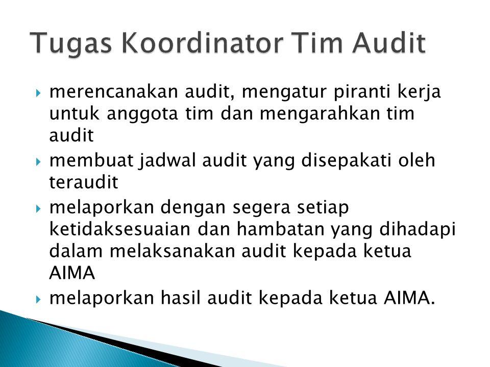 Tugas Koordinator Tim Audit