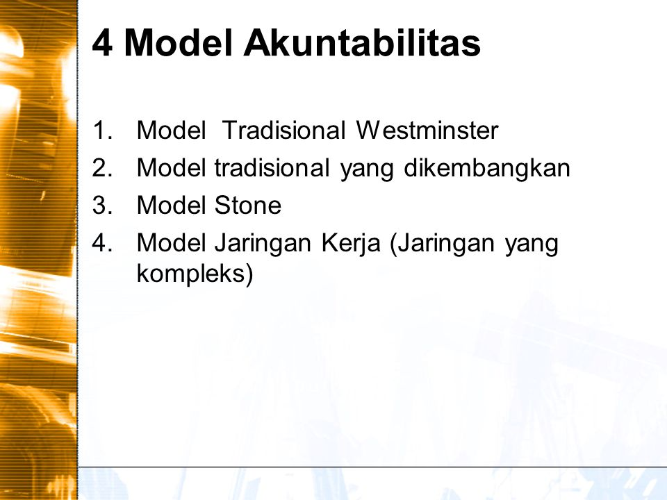 4 Model Akuntabilitas Model Tradisional Westminster