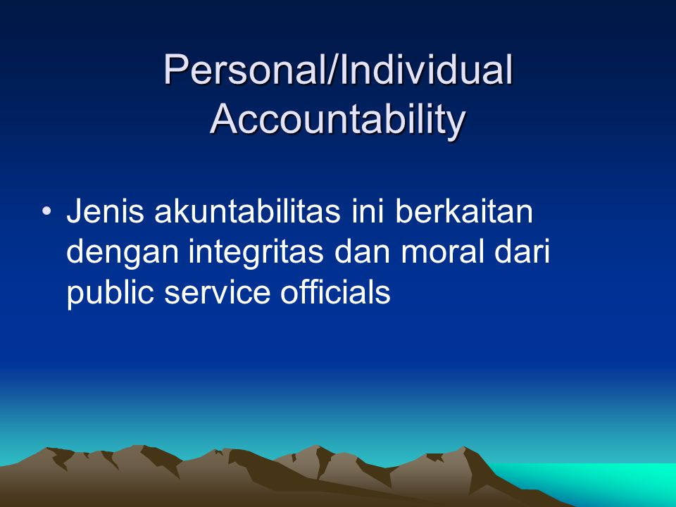 Personal/Individual Accountability