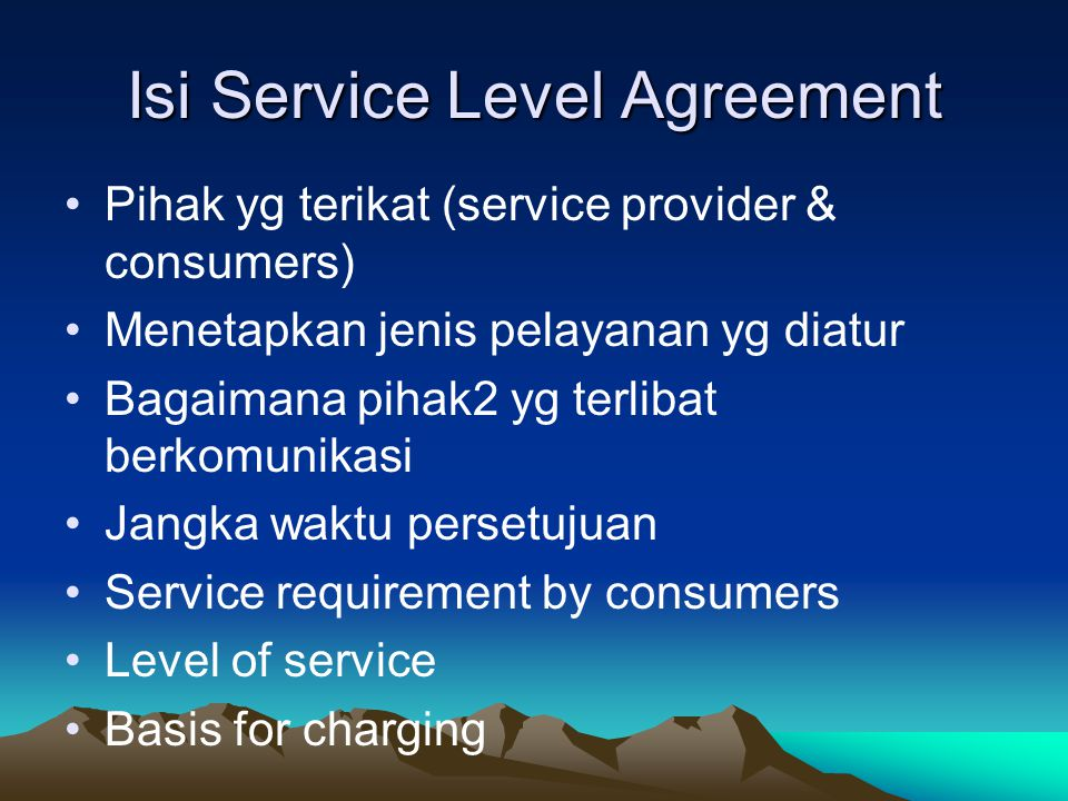Isi Service Level Agreement