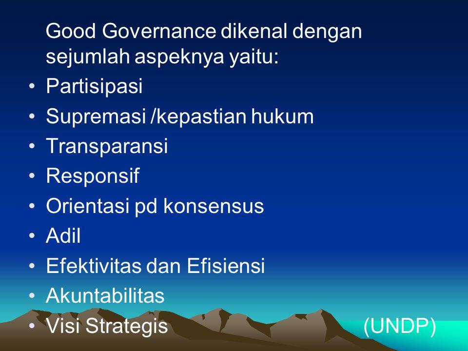 Good Governance dikenal dengan sejumlah aspeknya yaitu: