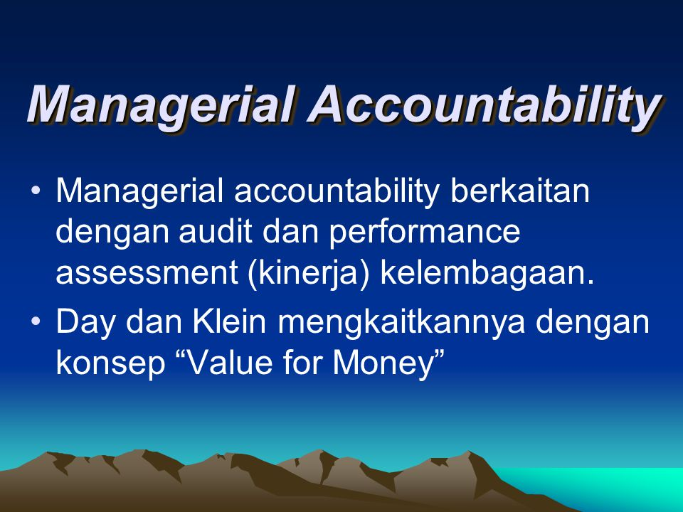 Managerial Accountability