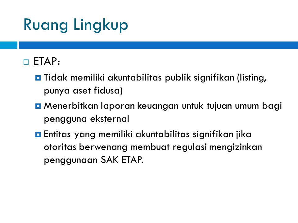 Ruang Lingkup ETAP: Tidak memiliki akuntabilitas publik signifikan (listing, punya aset fidusa)