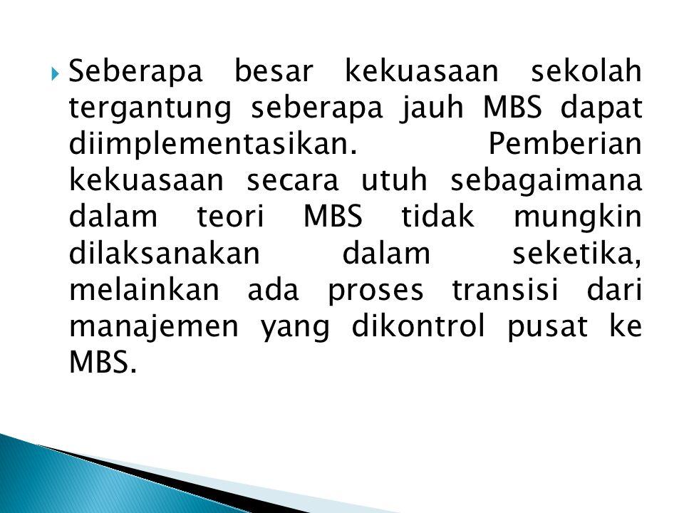 Seberapa besar kekuasaan sekolah tergantung seberapa jauh MBS dapat diimplementasikan.