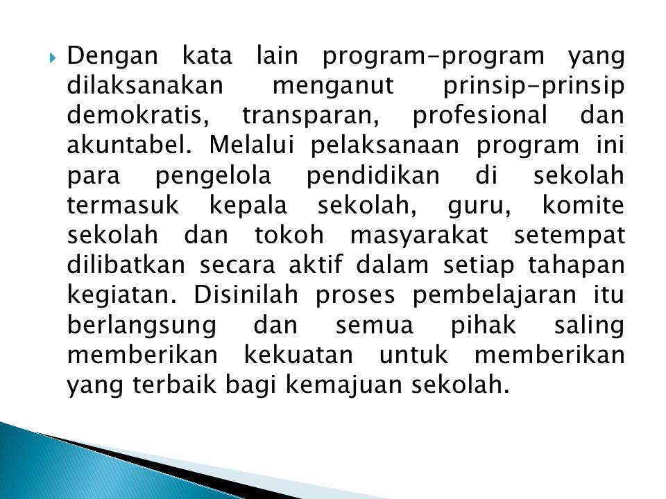 Dengan kata lain program-program yang dilaksanakan menganut prinsip-prinsip demokratis, transparan, profesional dan akuntabel.