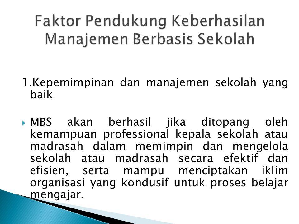 Faktor Pendukung Keberhasilan Manajemen Berbasis Sekolah