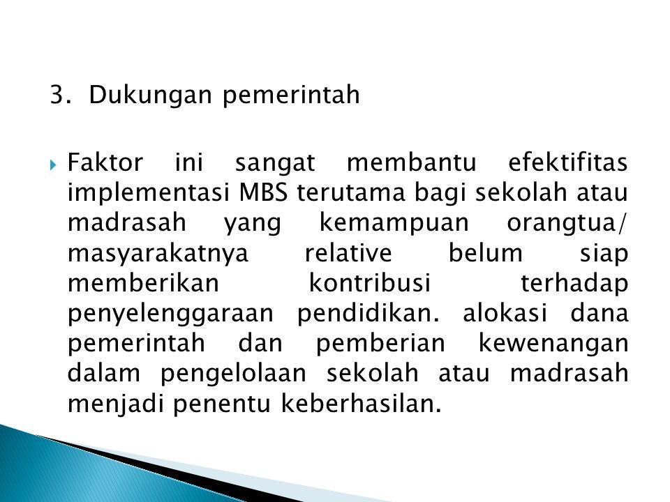 3. Dukungan pemerintah