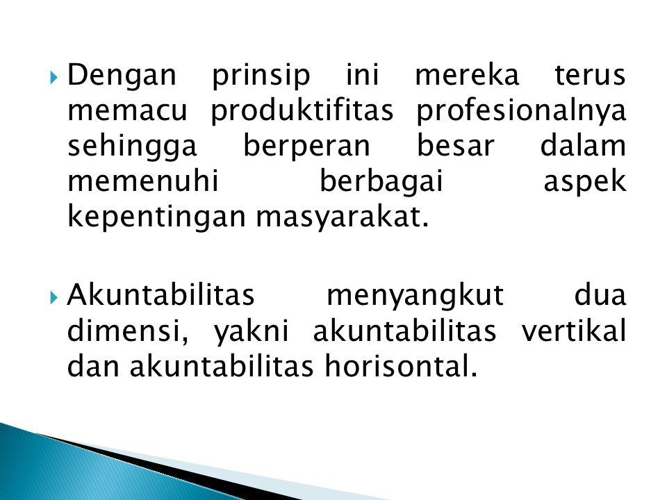 Dengan prinsip ini mereka terus memacu produktifitas profesionalnya sehingga berperan besar dalam memenuhi berbagai aspek kepentingan masyarakat.