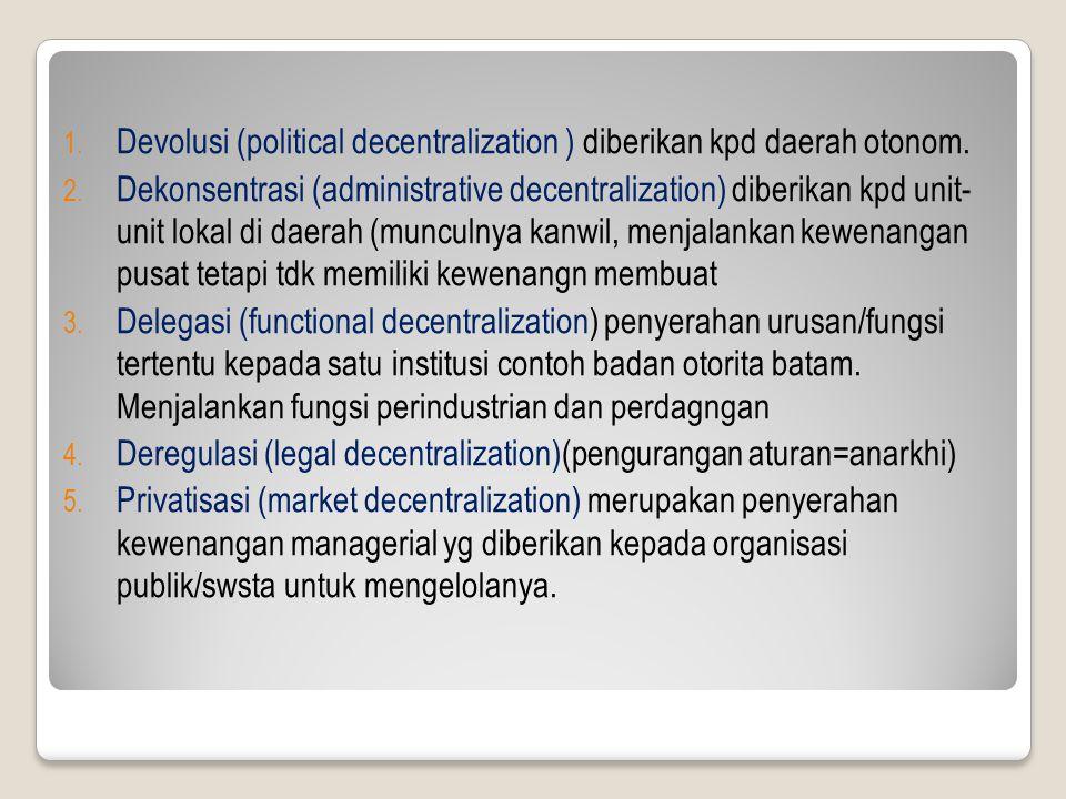 Devolusi (political decentralization ) diberikan kpd daerah otonom.