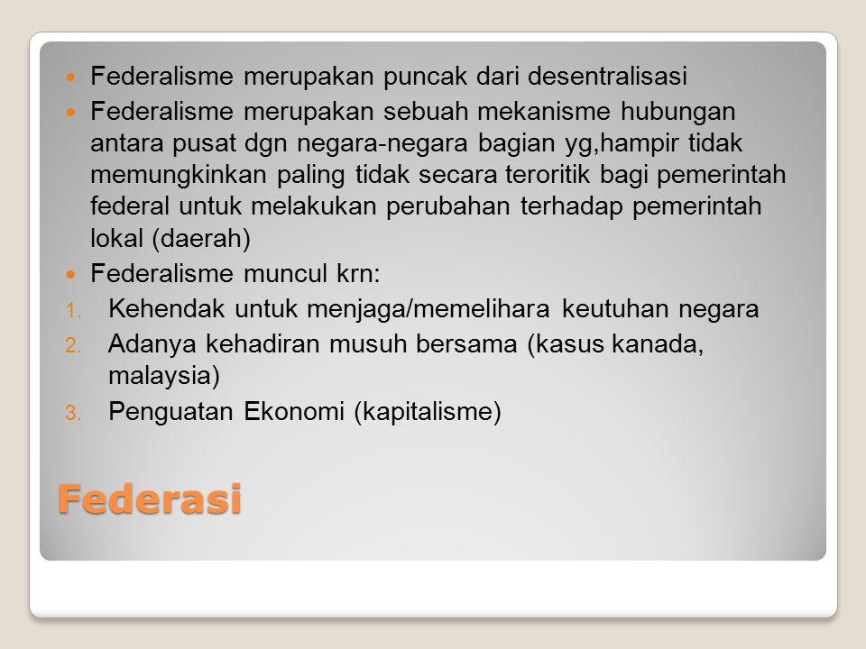 Federasi Federalisme merupakan puncak dari desentralisasi