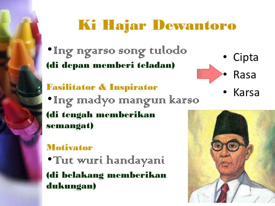 Ki Hajar Dewantoro •Ing ngarso song tulodo •Ing madyo mangun karso