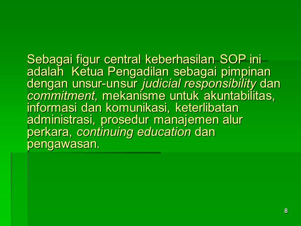 Sebagai figur central keberhasilan SOP ini adalah Ketua Pengadilan sebagai pimpinan dengan unsur-unsur judicial responsibility dan commitment, mekanisme untuk akuntabilitas, informasi dan komunikasi, keterlibatan administrasi, prosedur manajemen alur perkara, continuing education dan pengawasan.