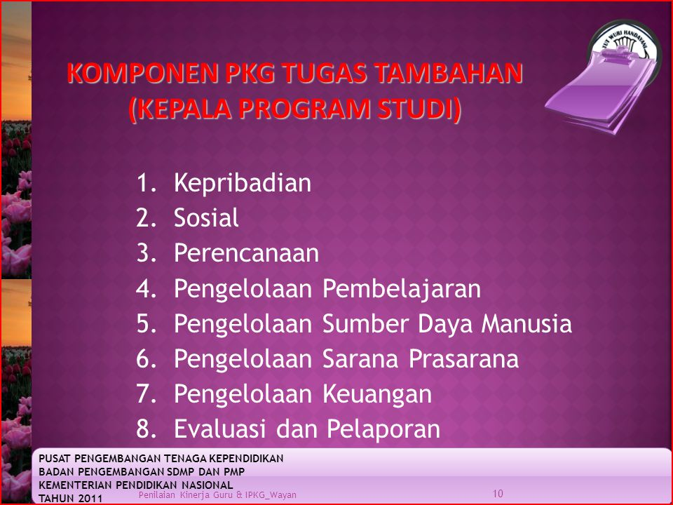 KOMPONEN PKG TUGAS TAMBAHAN (KEPALA PROGRAM STUDI)