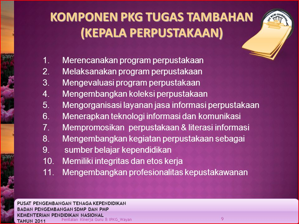 KOMPONEN PKG TUGAS TAMBAHAN (KEPALA PERPUSTAKAAN)