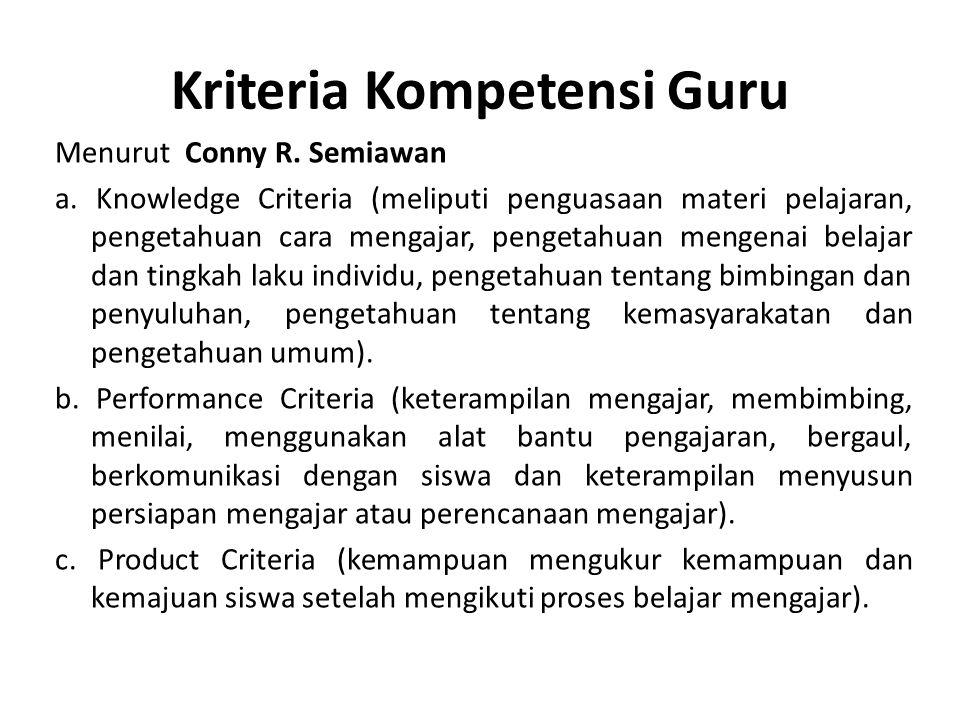 Kriteria Kompetensi Guru