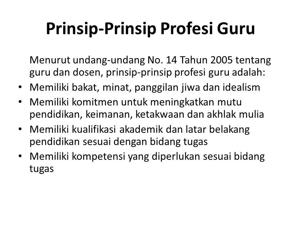 Prinsip-Prinsip Profesi Guru