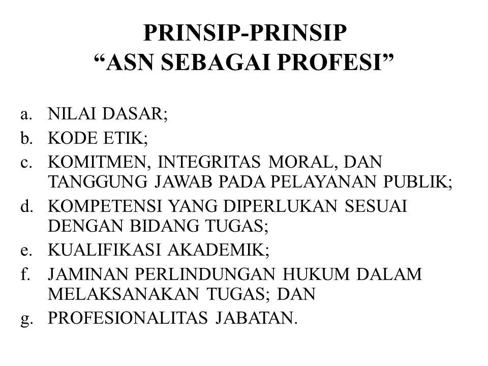 PRINSIP-PRINSIP ASN SEBAGAI PROFESI