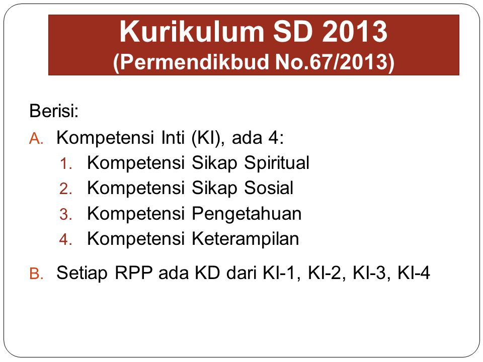 Kurikulum SD 2013 (Permendikbud No.67/2013)