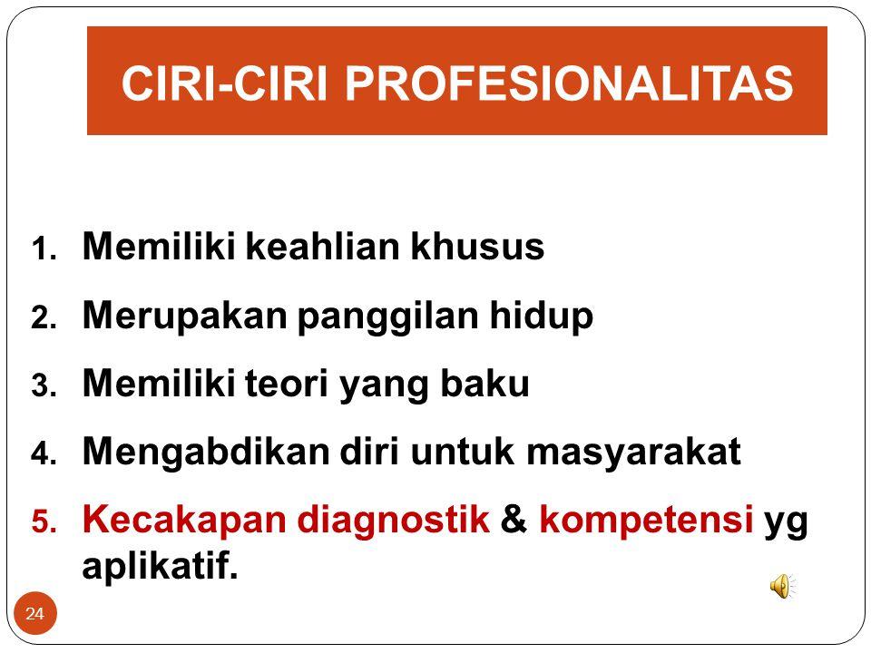 CIRI-CIRI PROFESIONALITAS