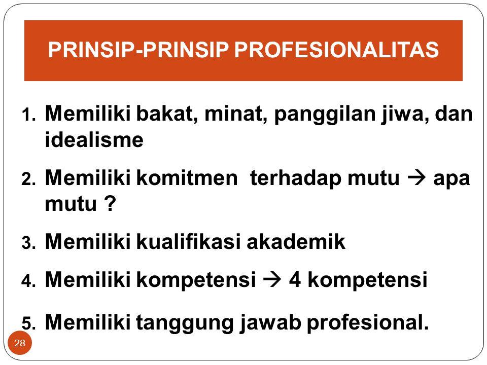 PRINSIP-PRINSIP PROFESIONALITAS