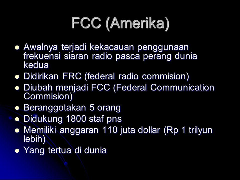 FCC (Amerika) Awalnya terjadi kekacauan penggunaan frekuensi siaran radio pasca perang dunia kedua.