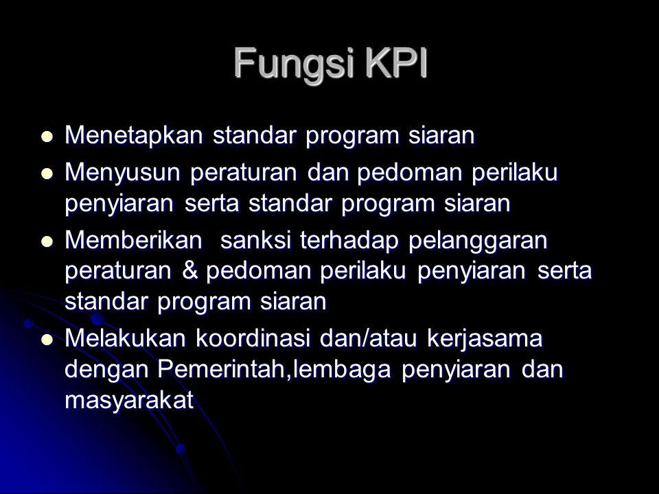 Fungsi KPI Menetapkan standar program siaran