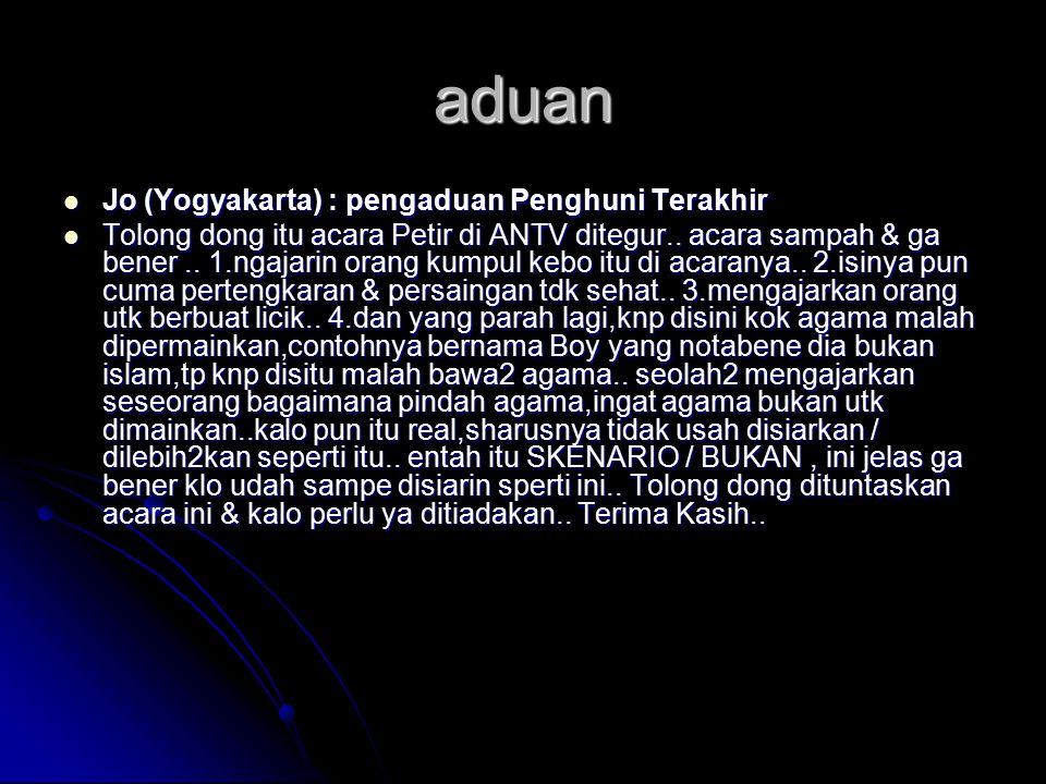 aduan Jo (Yogyakarta) : pengaduan Penghuni Terakhir