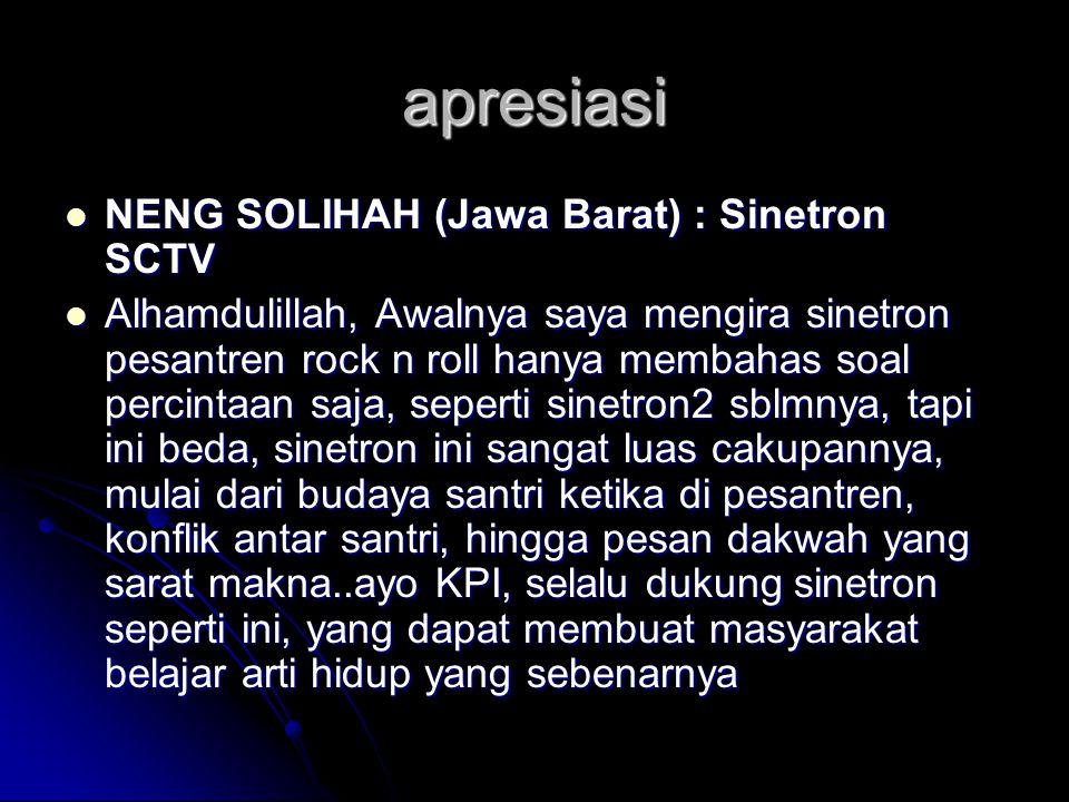 apresiasi NENG SOLIHAH (Jawa Barat) : Sinetron SCTV