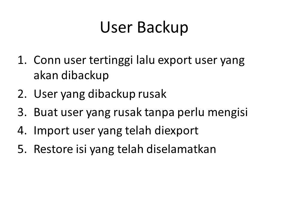 User Backup Conn user tertinggi lalu export user yang akan dibackup