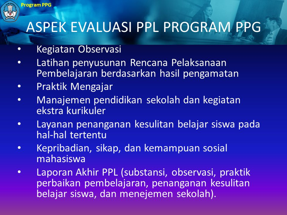 ASPEK EVALUASI PPL PROGRAM PPG