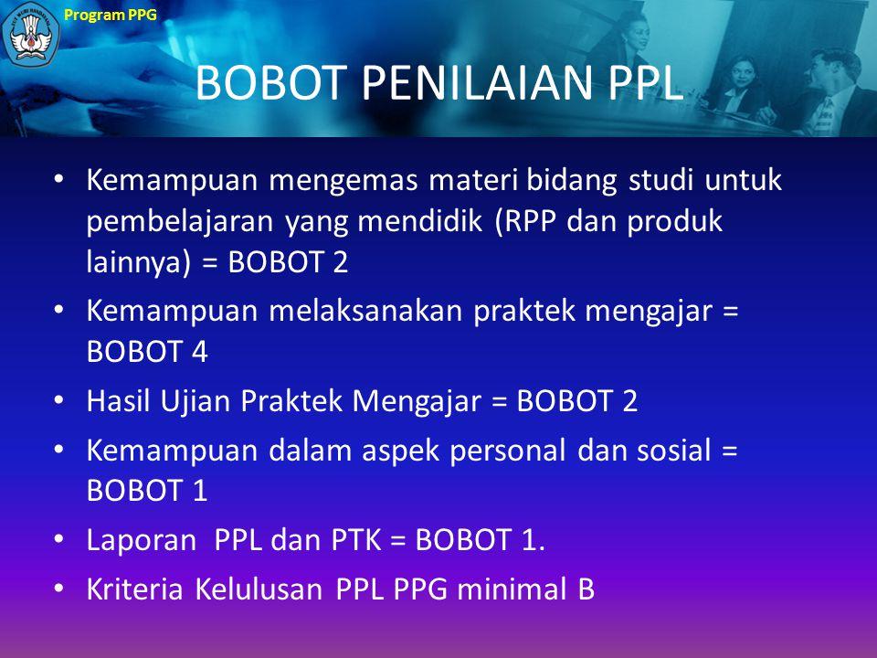 BOBOT PENILAIAN PPL Kemampuan mengemas materi bidang studi untuk pembelajaran yang mendidik (RPP dan produk lainnya) = BOBOT 2.