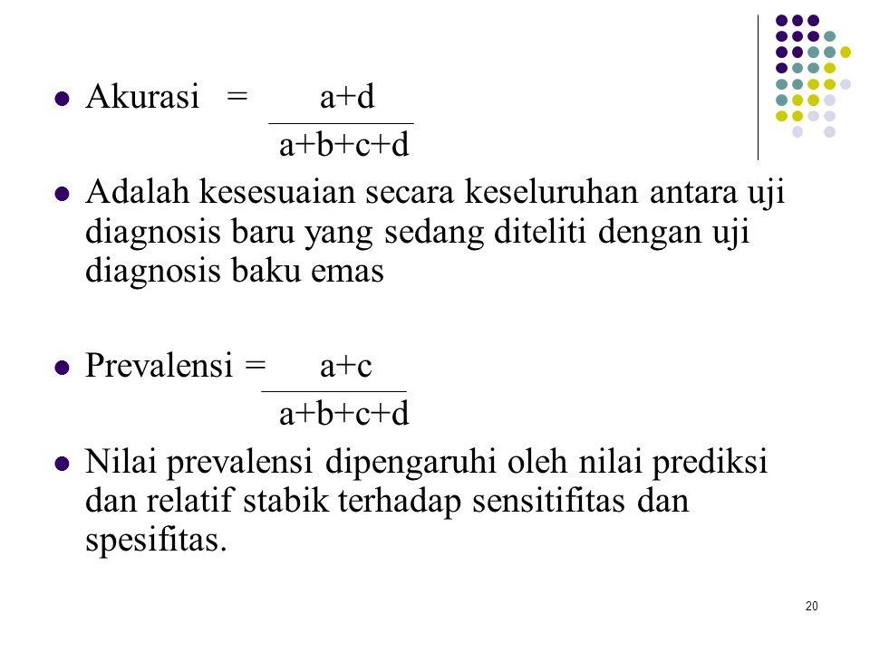 Akurasi = a+d a+b+c+d. Adalah kesesuaian secara keseluruhan antara uji diagnosis baru yang sedang diteliti dengan uji diagnosis baku emas.