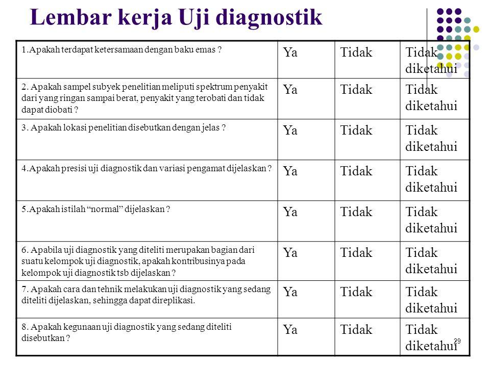 Lembar kerja Uji diagnostik