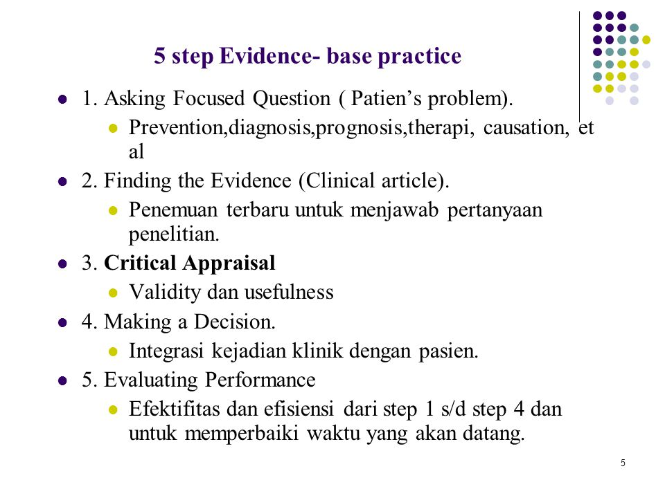 5 step Evidence- base practice