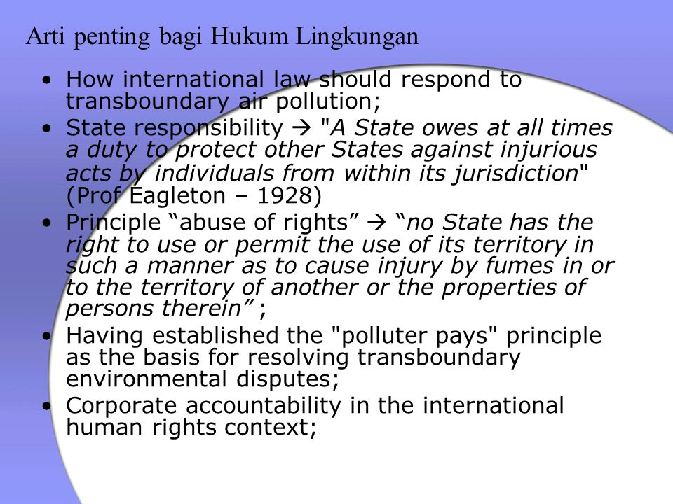 Arti penting bagi Hukum Lingkungan