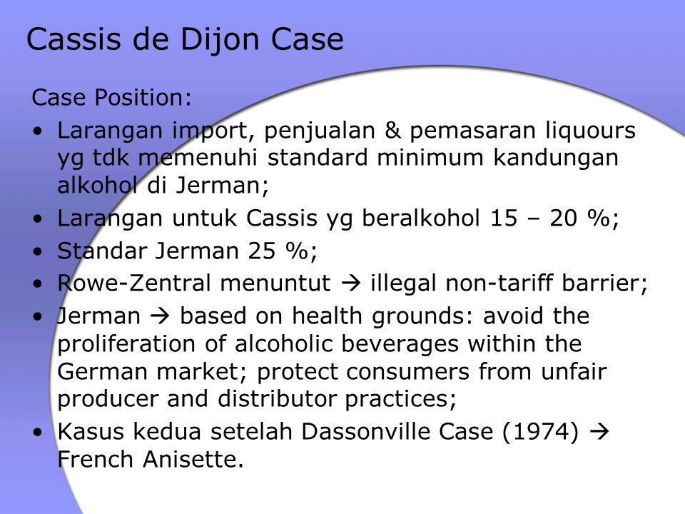 Cassis de Dijon Case Case Position: