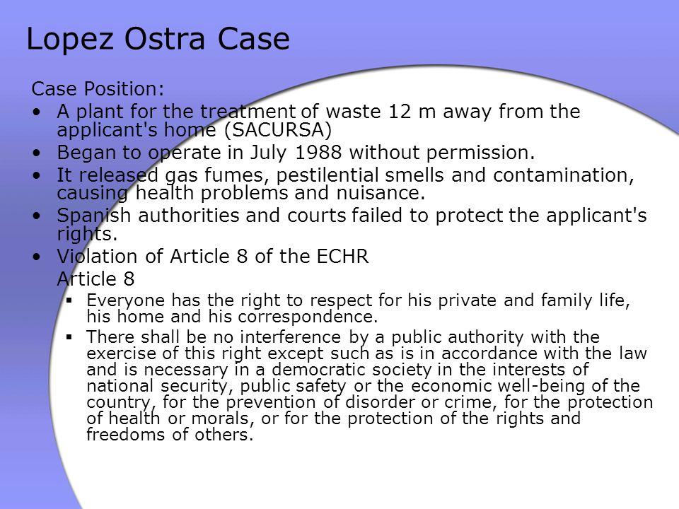 Lopez Ostra Case Case Position: