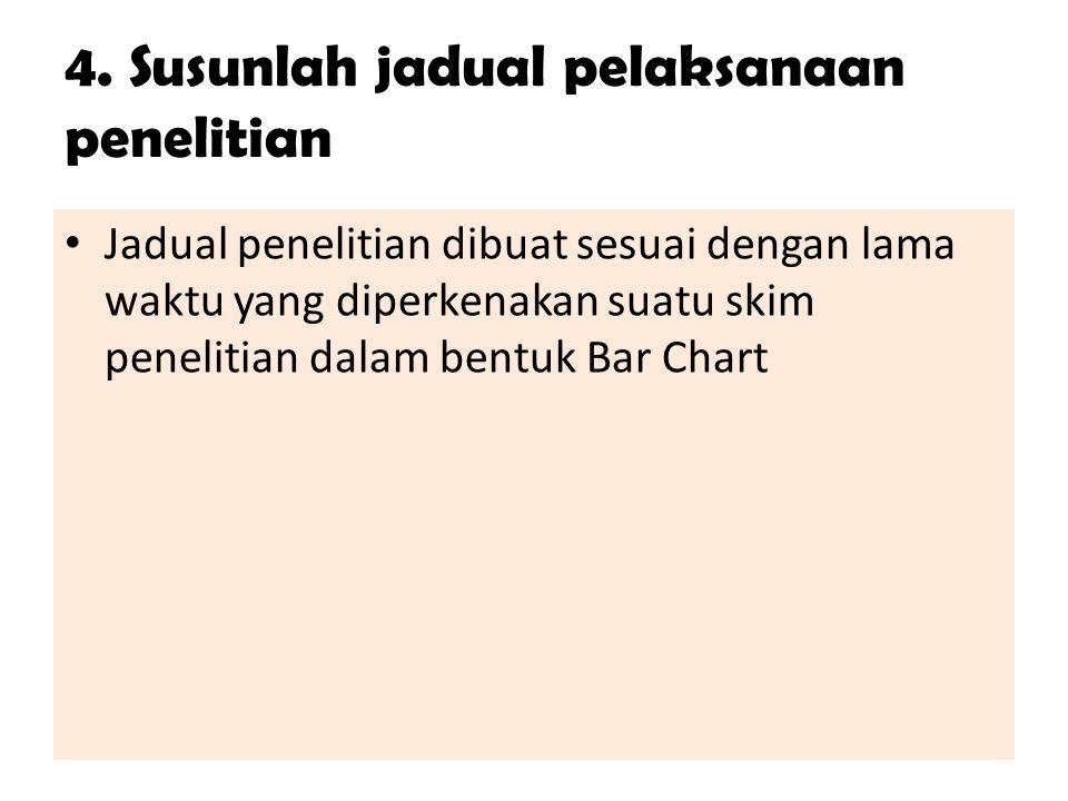 4. Susunlah jadual pelaksanaan penelitian