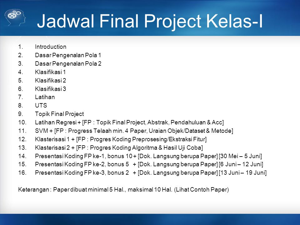 Jadwal Final Project Kelas-I