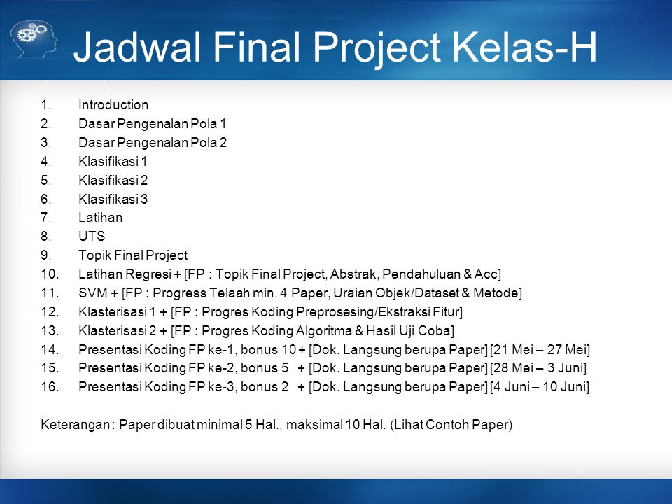 Jadwal Final Project Kelas-H