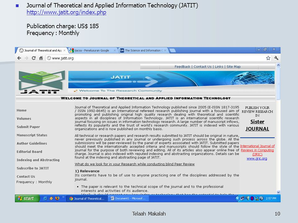 Journal of Theoretical and Applied Information Technology (JATIT)   Publication charge: US$ 185 Frequency : Monthly