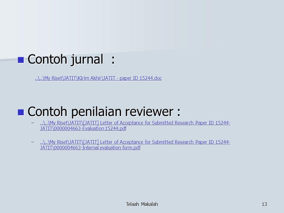 Contoh penilaian reviewer :
