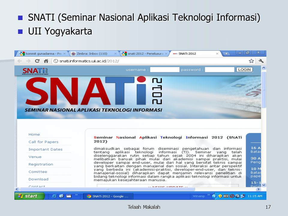 SNATI (Seminar Nasional Aplikasi Teknologi Informasi) UII Yogyakarta