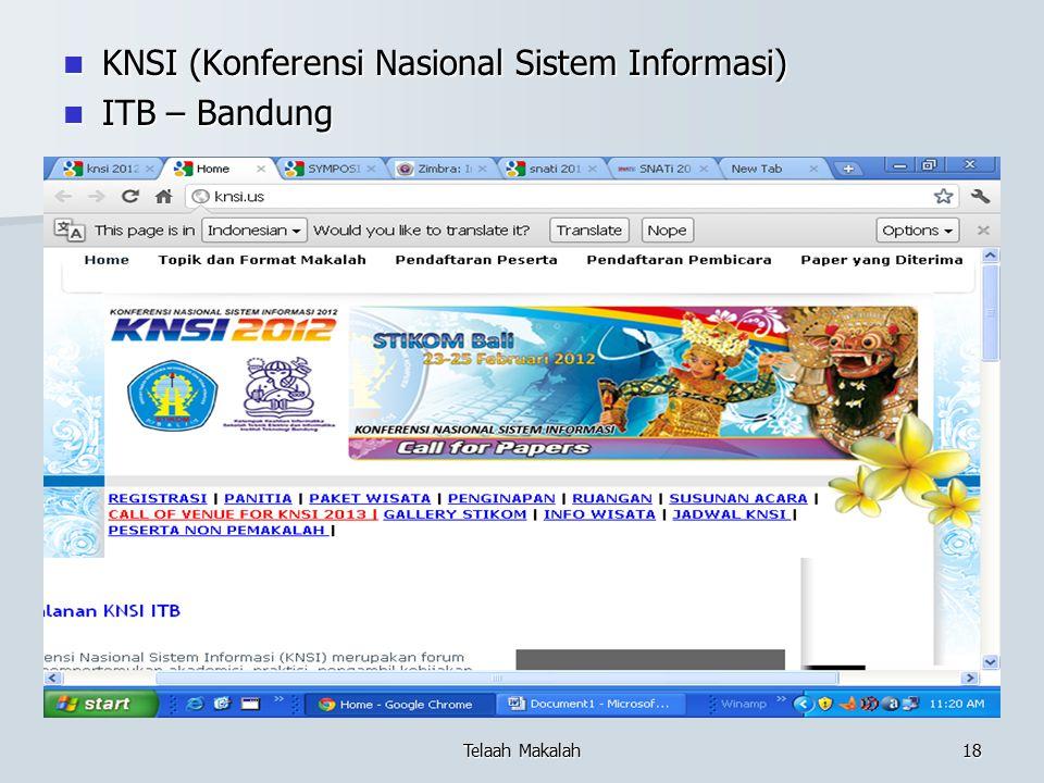 KNSI (Konferensi Nasional Sistem Informasi) ITB – Bandung