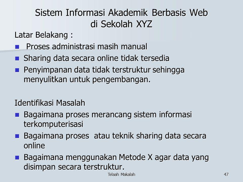 Sistem Informasi Akademik Berbasis Web di Sekolah XYZ